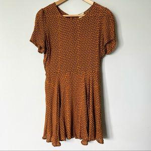 Small Short Sleeve Camel Colour Skater Dress